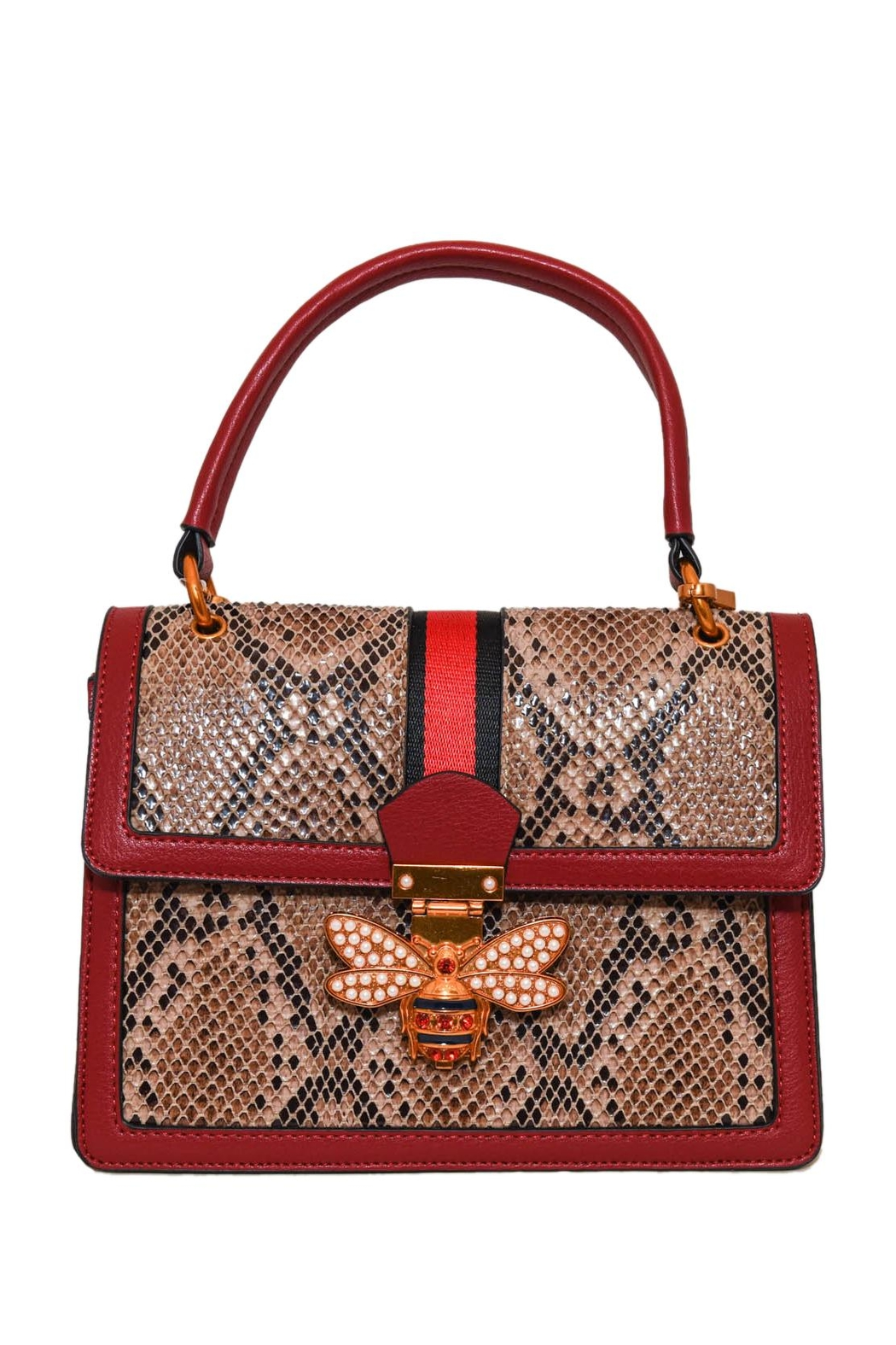 INZI Structured Python Satchel - Front Cropped Image