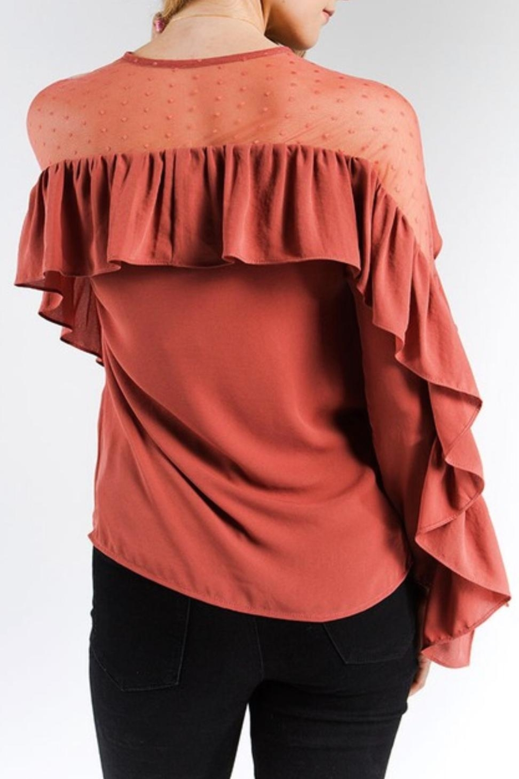 Strut & Bolt Dotted Ruffle Blouse - Side Cropped Image