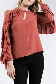 Strut & Bolt Dotted Ruffle Blouse - Front full body