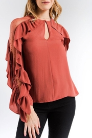 Strut & Bolt Dotted Ruffle Blouse - Product Mini Image