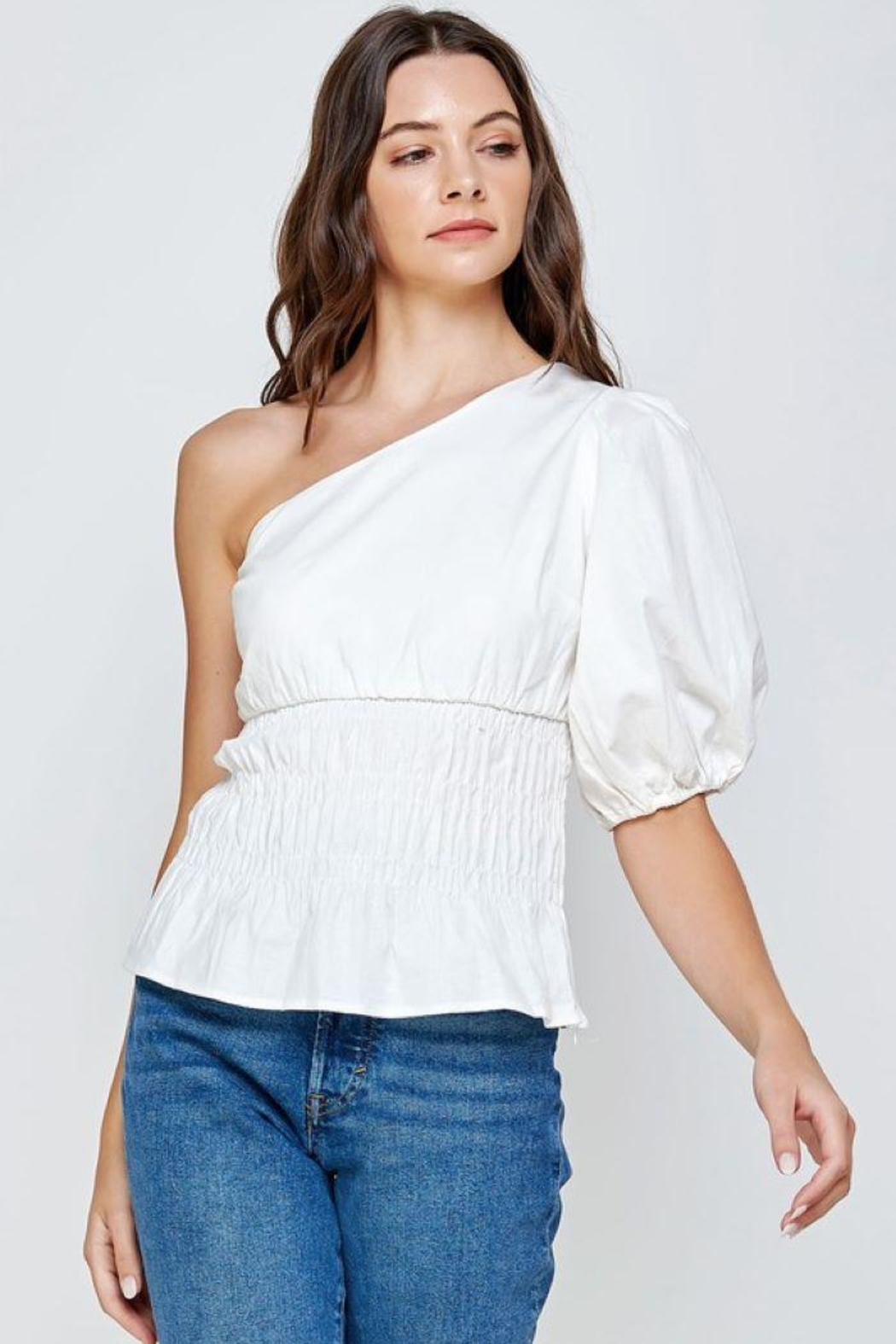 Strut & Bolt One-Shoulder Balloon Sleeve Linen Top - Main Image