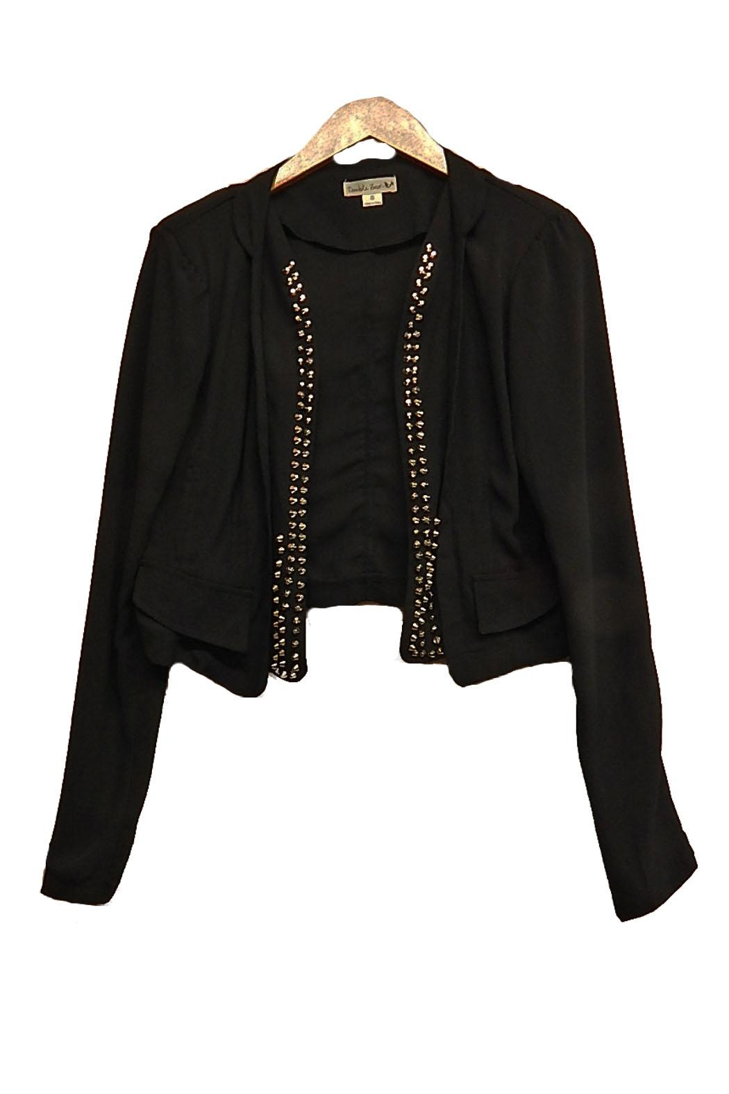 Double Zero Stud-Lapel Crop Jacket - Main Image