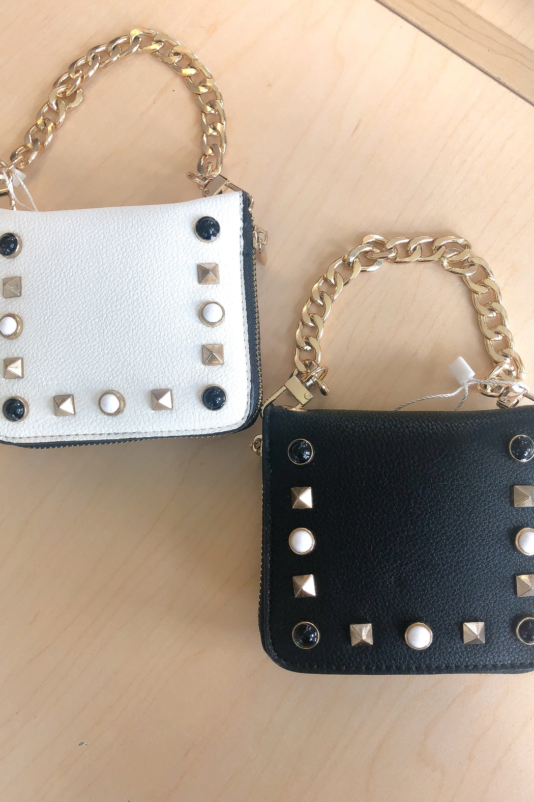 A Touch Of Style Studded Black Crossbody Chain Wallet - Front Full Image