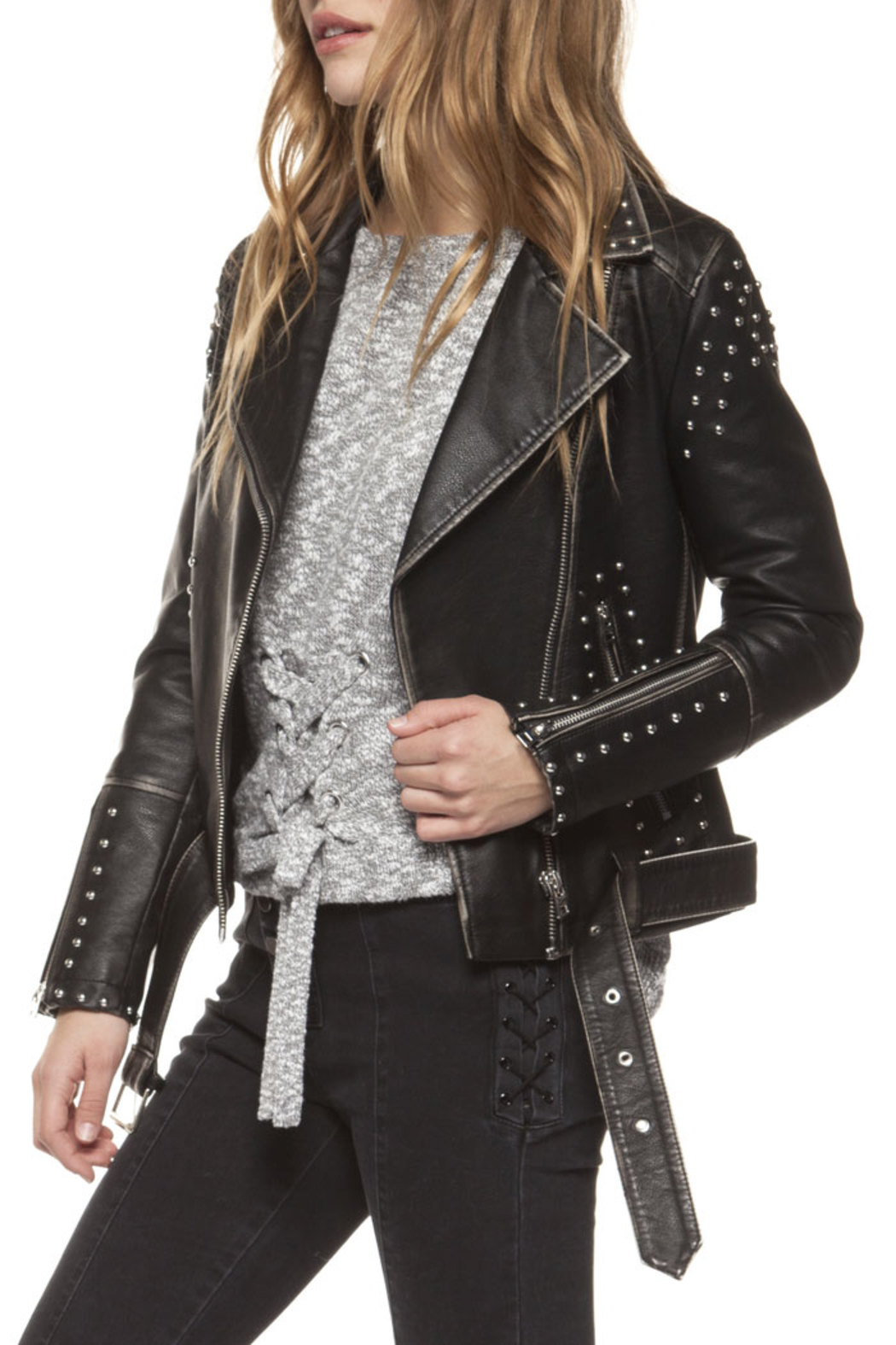 Dex Studded Moto Jacket - Front Cropped Image