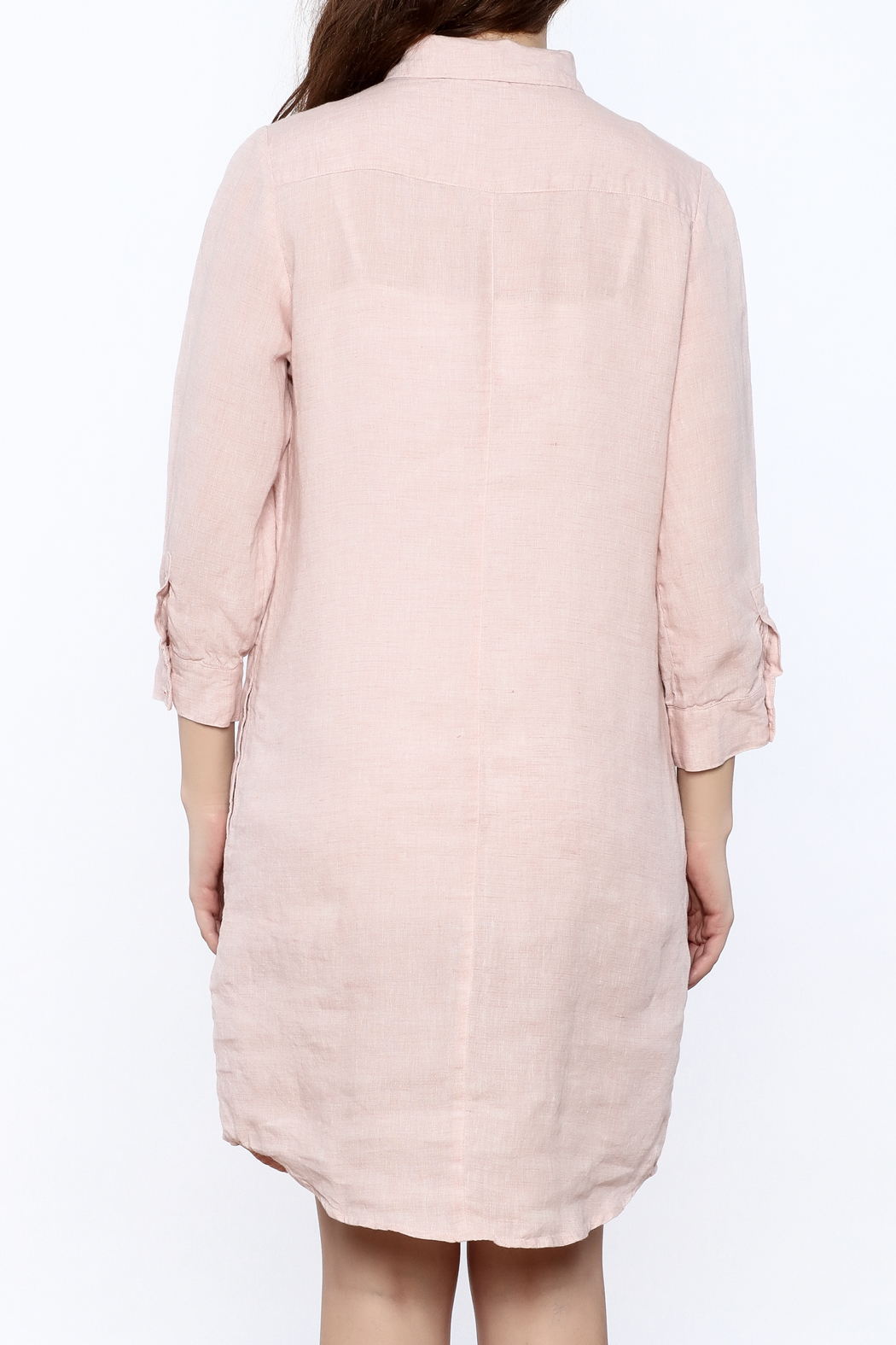 Studio 412 Ballet Pink Linen Dress - Back Cropped Image