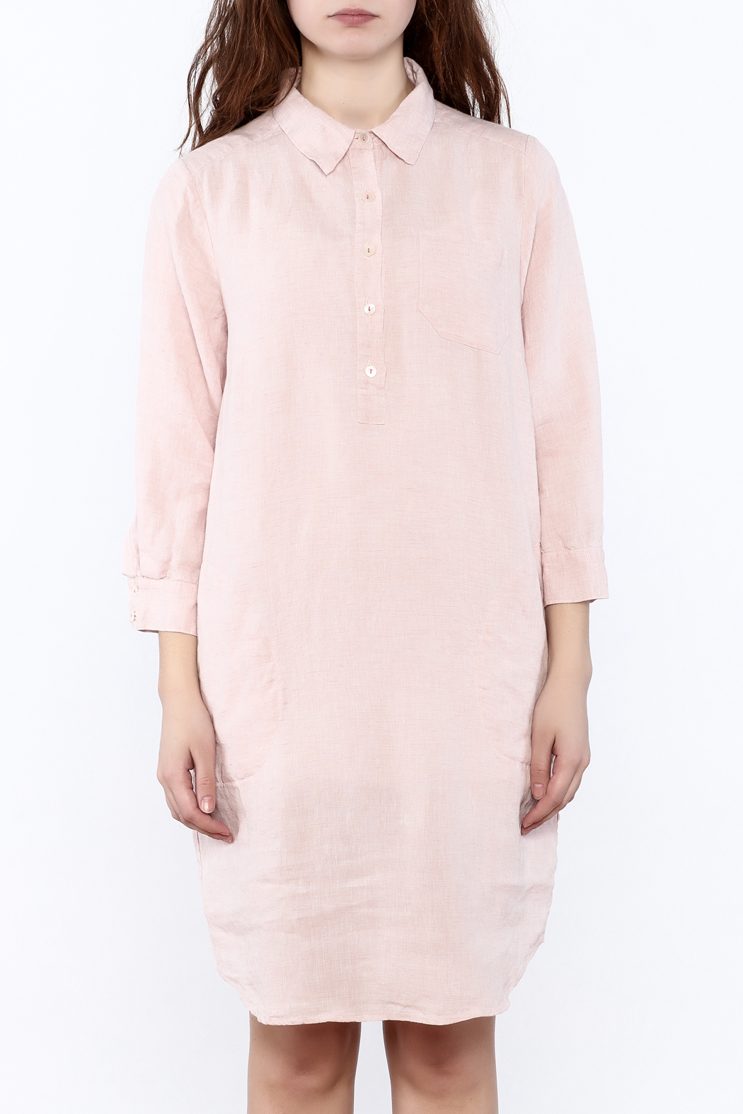 Studio 412 Ballet Pink Linen Dress - Side Cropped Image