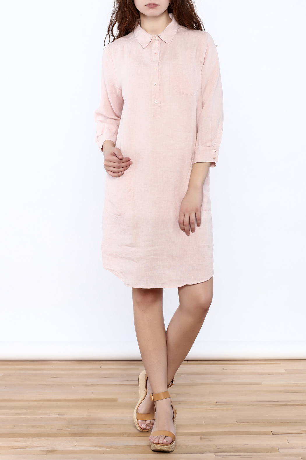Studio 412 Ballet Pink Linen Dress - Front Full Image