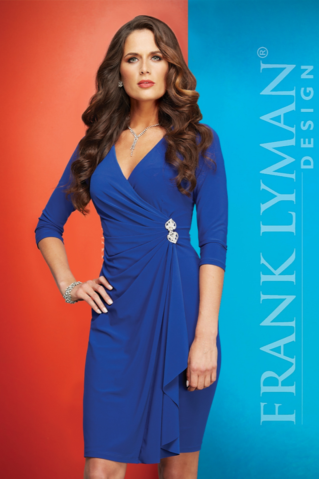 Frank Lyman stunning blue dress ruched at waist with rhinestone accent - Main Image