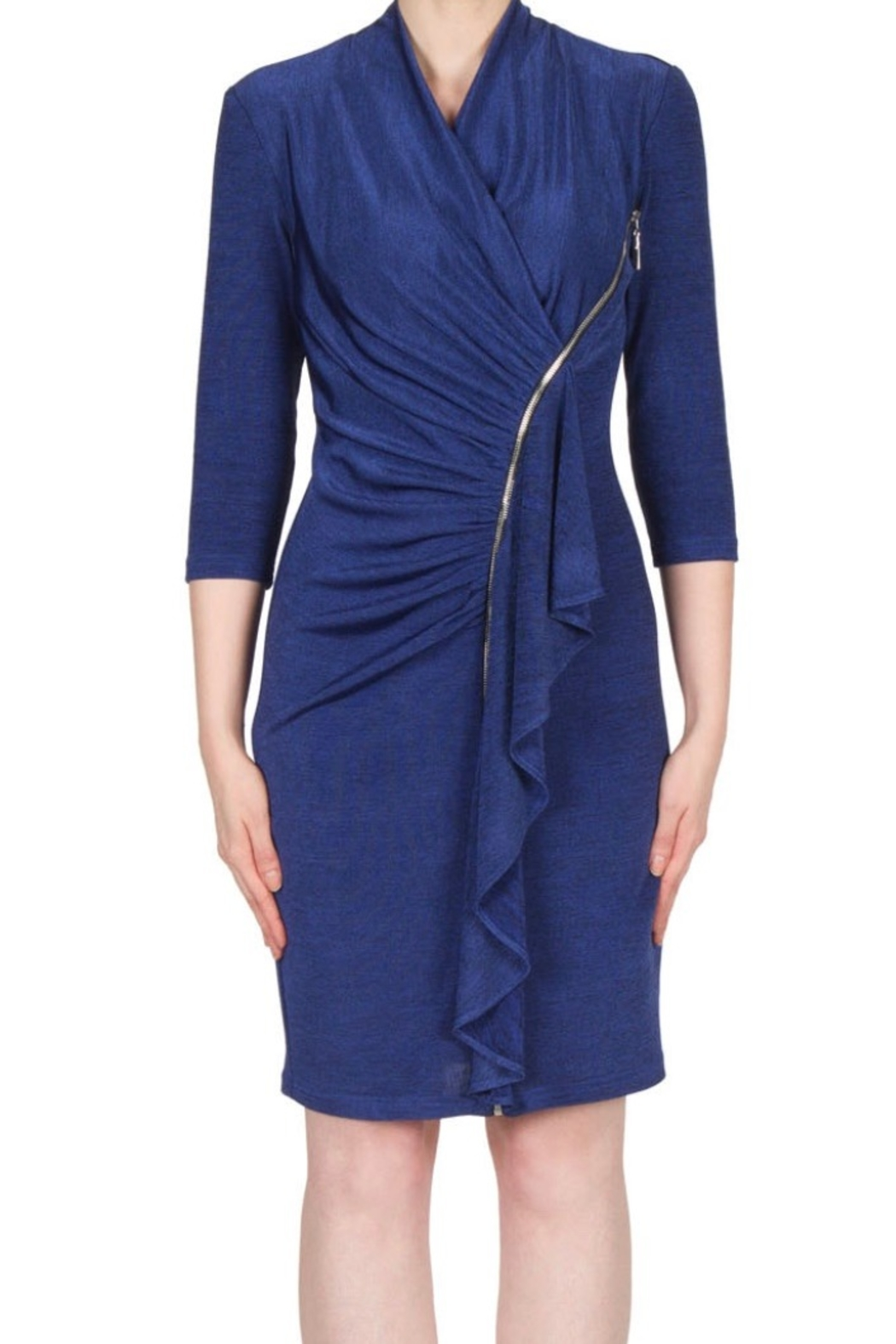 Joseph Ribkoff stunning fitted navy dress with zipper accent - Main Image