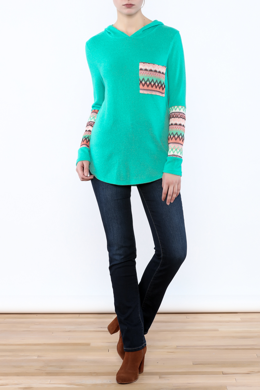 Style Rack Mint Hooded Sweater - Front Full Image