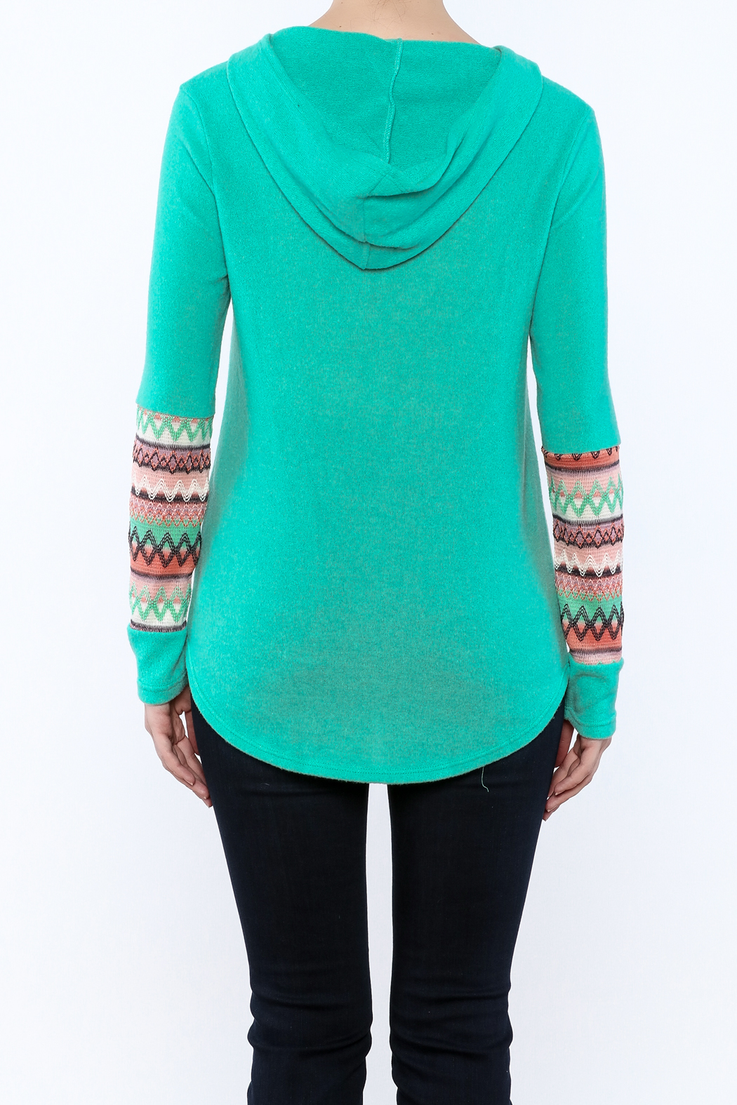 Style Rack Mint Hooded Sweater - Back Cropped Image