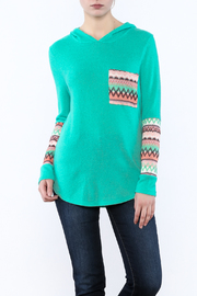 Style Rack Mint Hooded Sweater - Front cropped