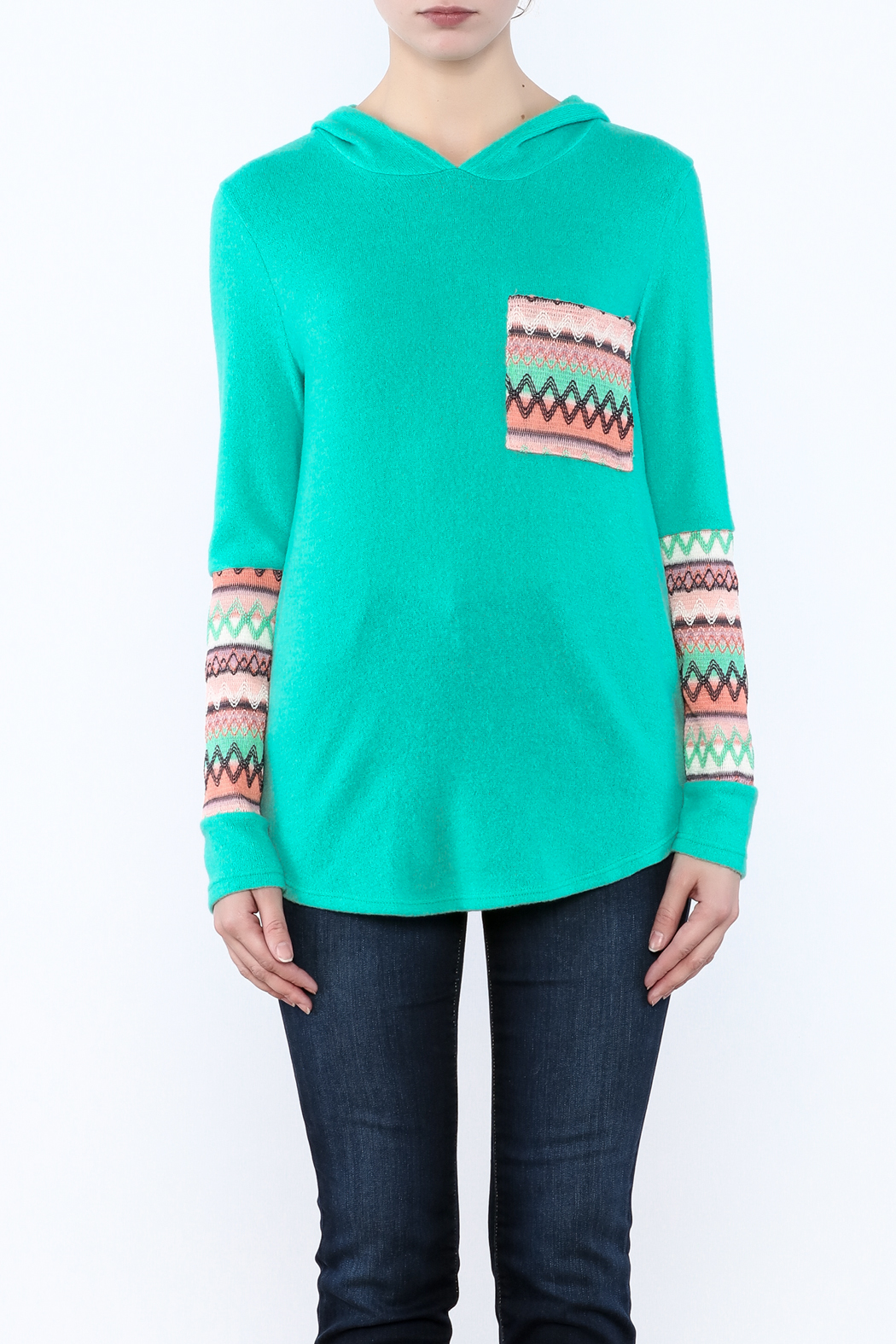 Style Rack Mint Hooded Sweater - Side Cropped Image