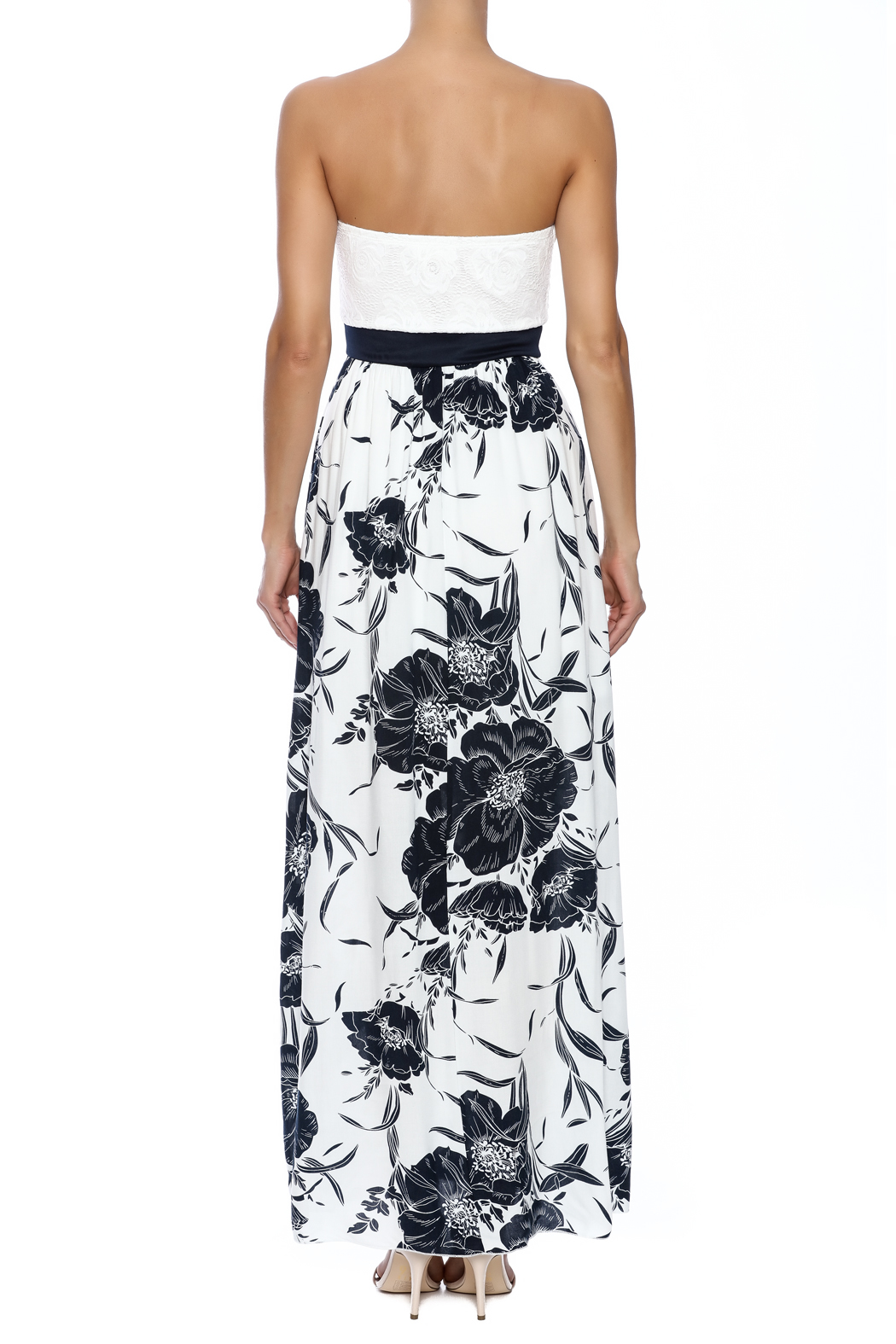 Style Rack Navy Floral Maxi - Back Cropped Image