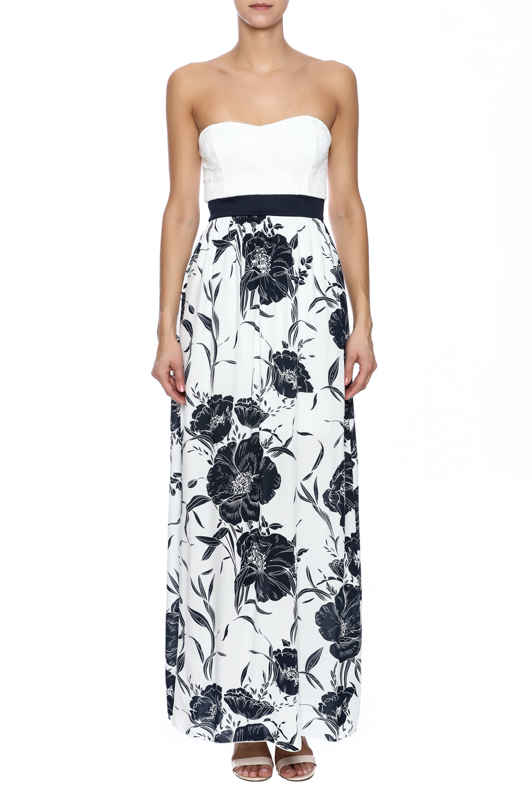Style Rack Navy Floral Maxi - Front Cropped Image