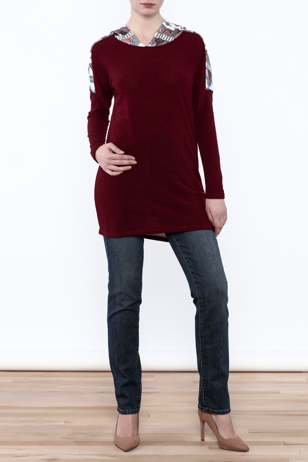 Style Rack Sequin Hooded Sweater - Front Full Image