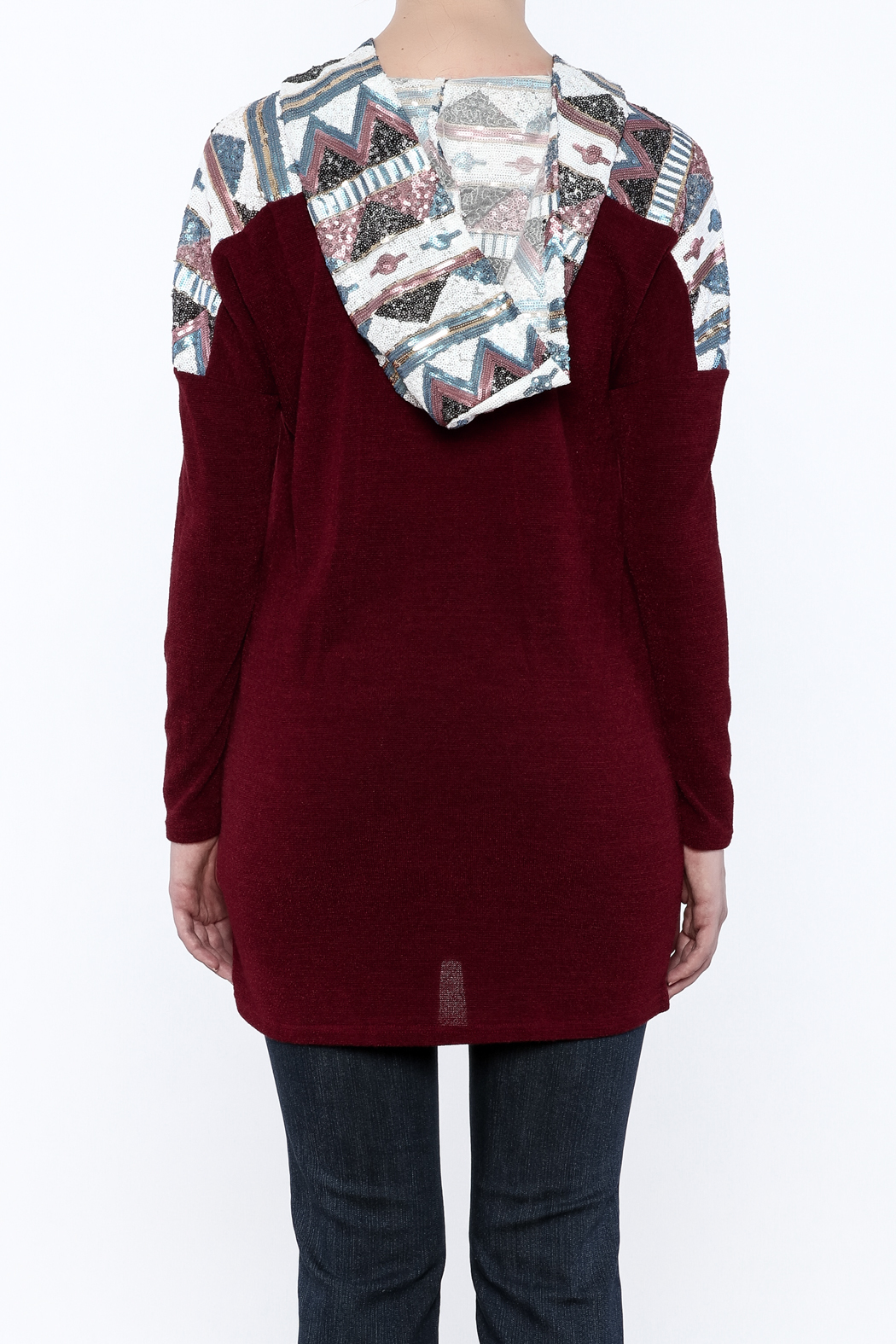 Style Rack Sequin Hooded Sweater - Back Cropped Image