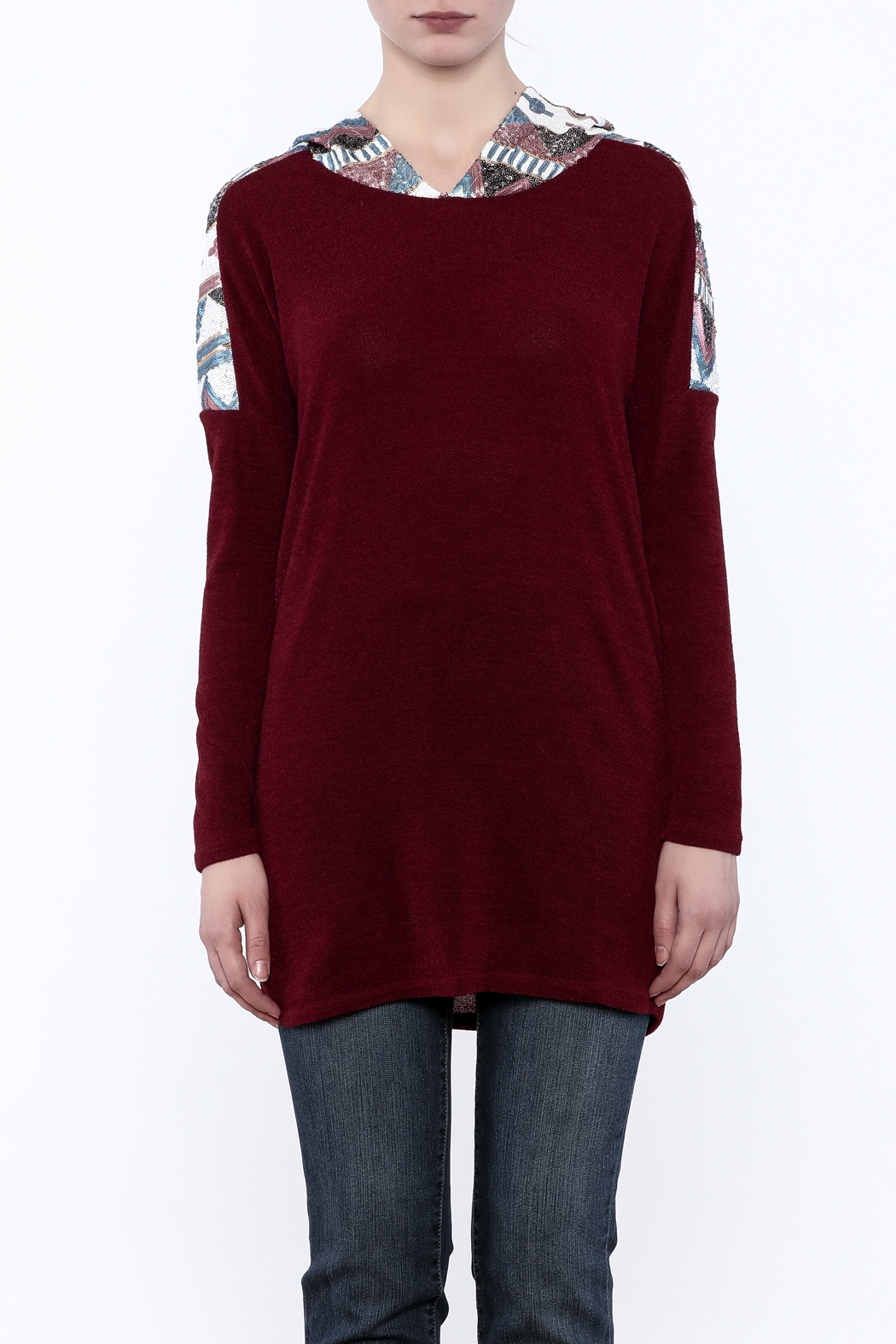 Style Rack Sequin Hooded Sweater - Side Cropped Image