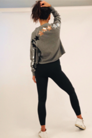 Style Reform Heather Gray Crew Sweatshirt with metallic stars and stripes - Front cropped