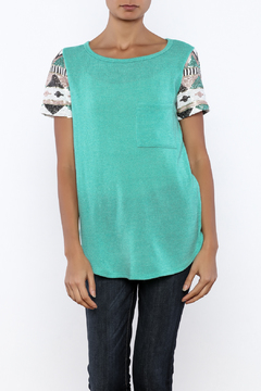 Shoptiques Product: Knit Sequin Sleeve Tee