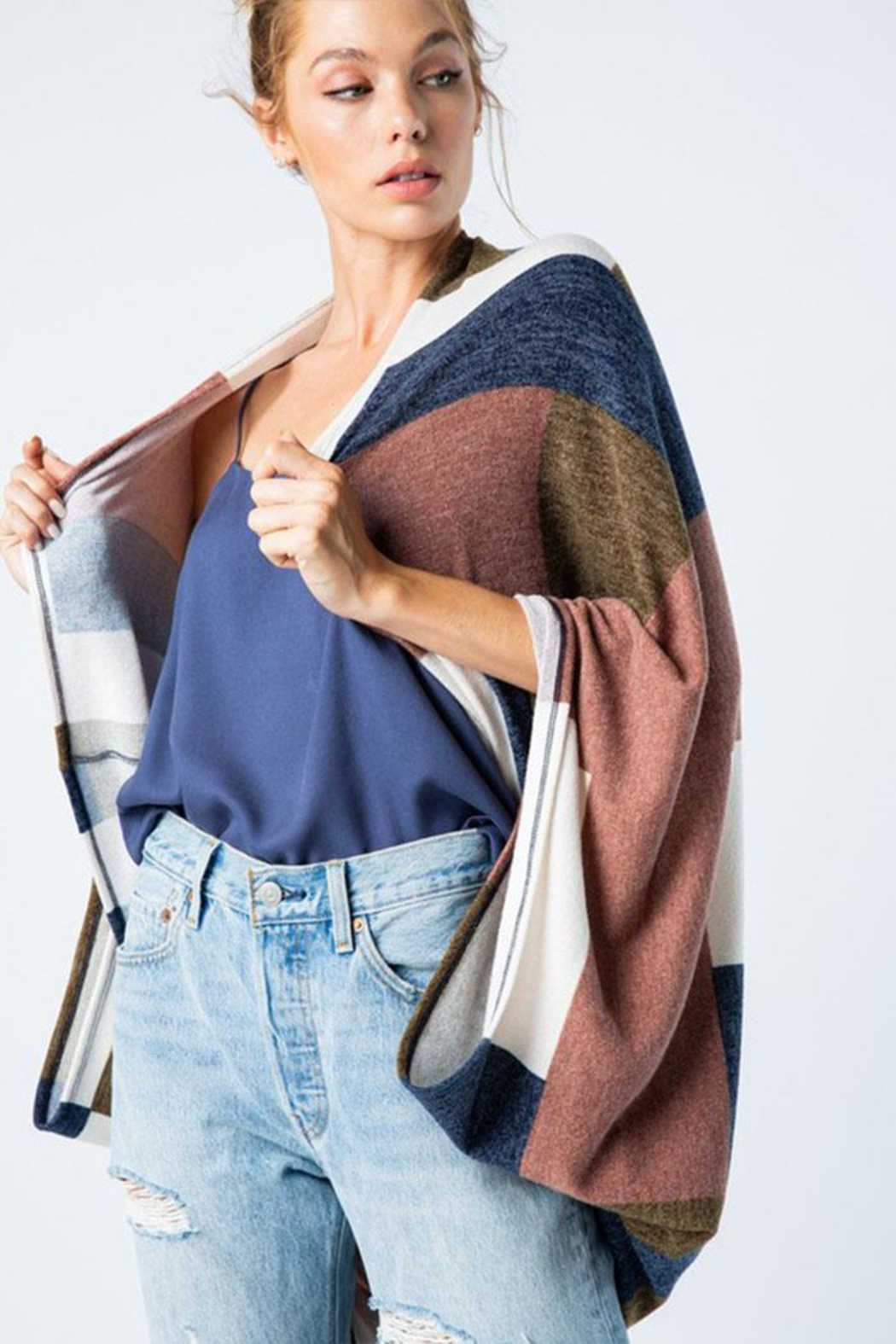 Style Rack Color Block Cardigan - Front Full Image