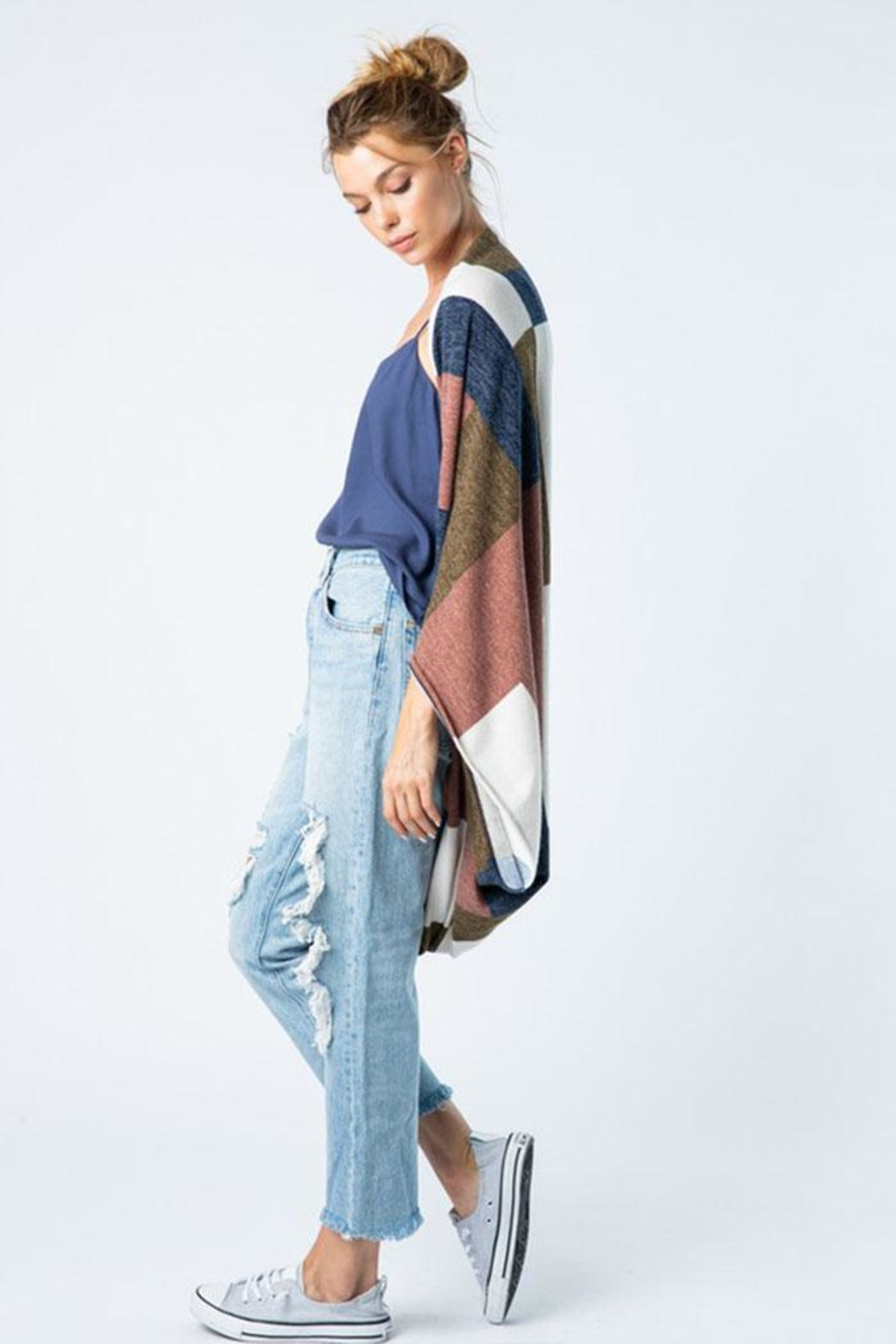 Style Rack Color Block Cardigan - Back Cropped Image