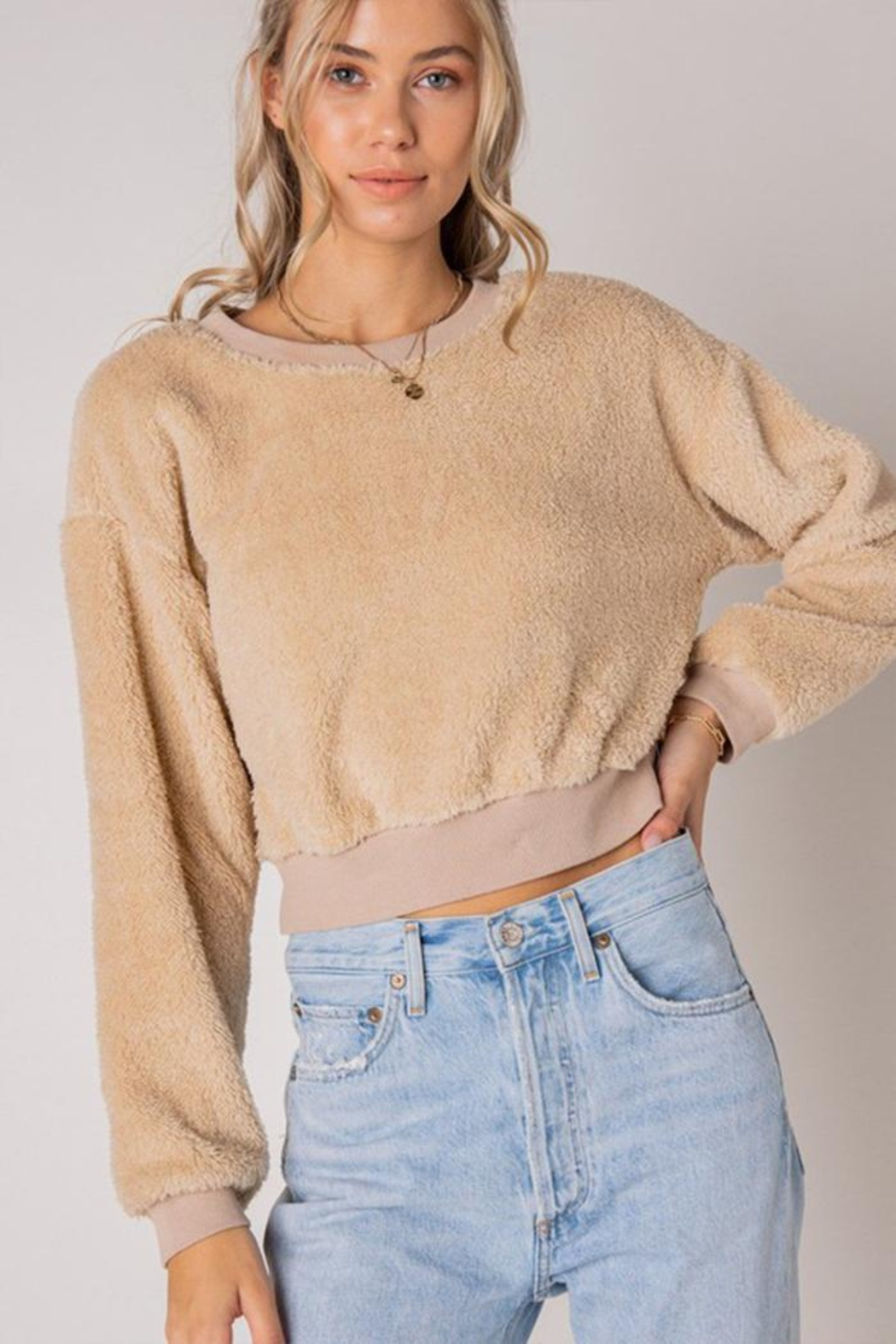 Style Rack Furry Pullover Sweater - Front Full Image
