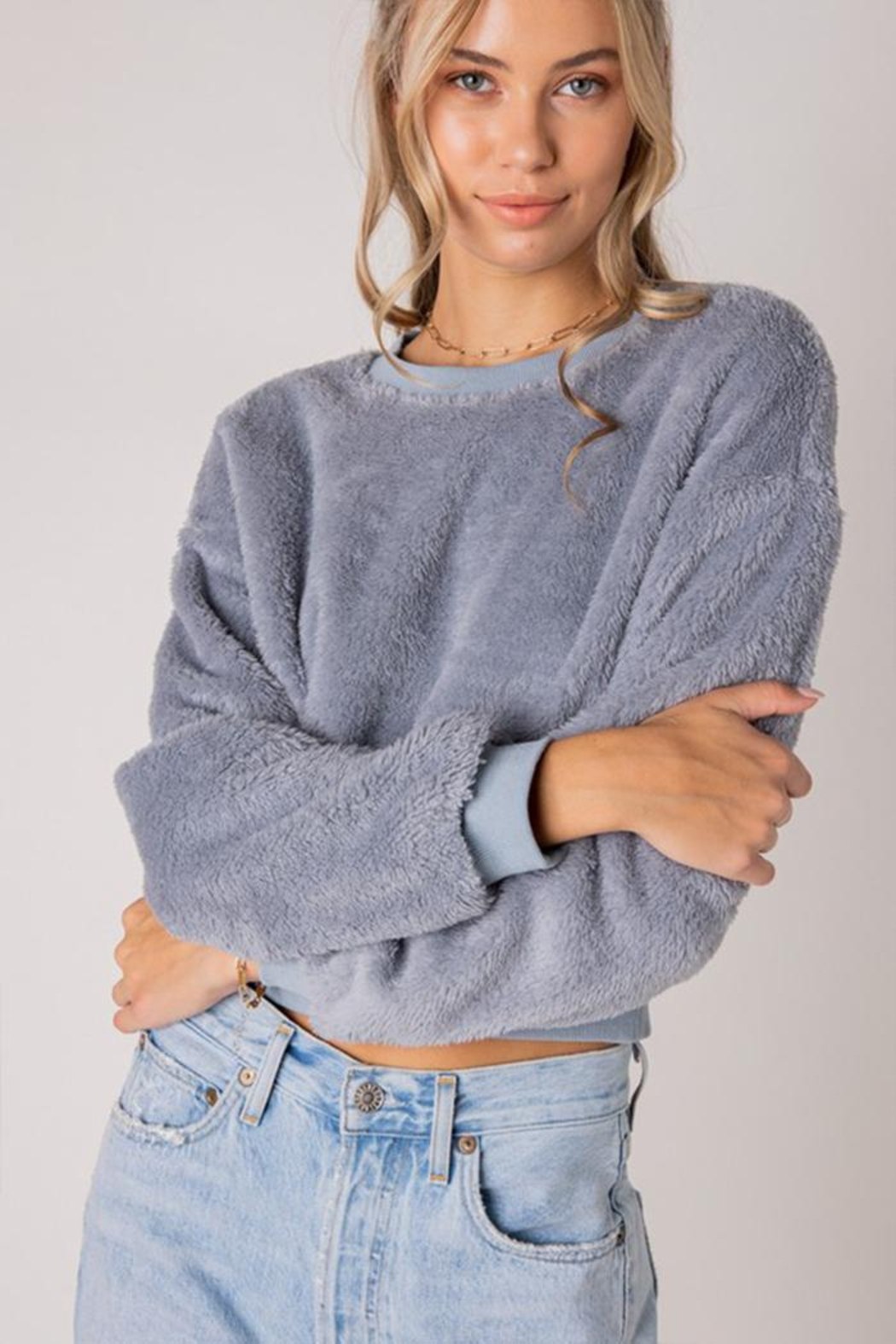 Style Rack Furry Pullover Sweater - Back Cropped Image