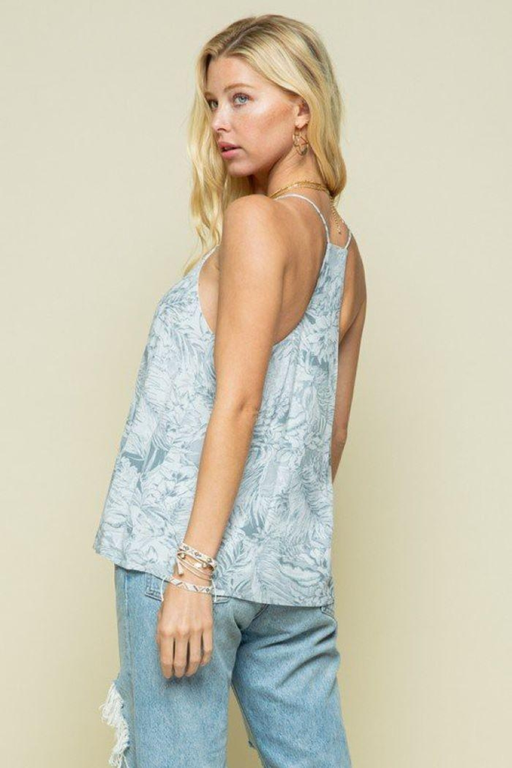 Style Rack Grey Palm Print Cami Top - Front Full Image