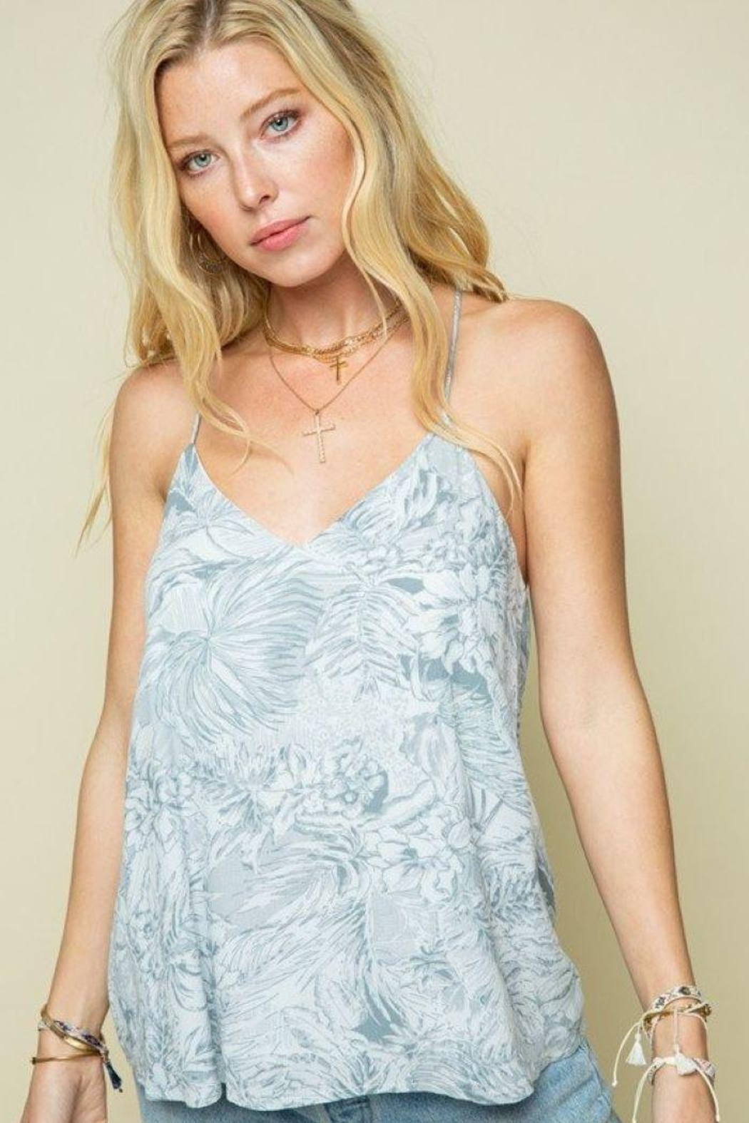 Style Rack Grey Palm Print Cami Top - Side Cropped Image