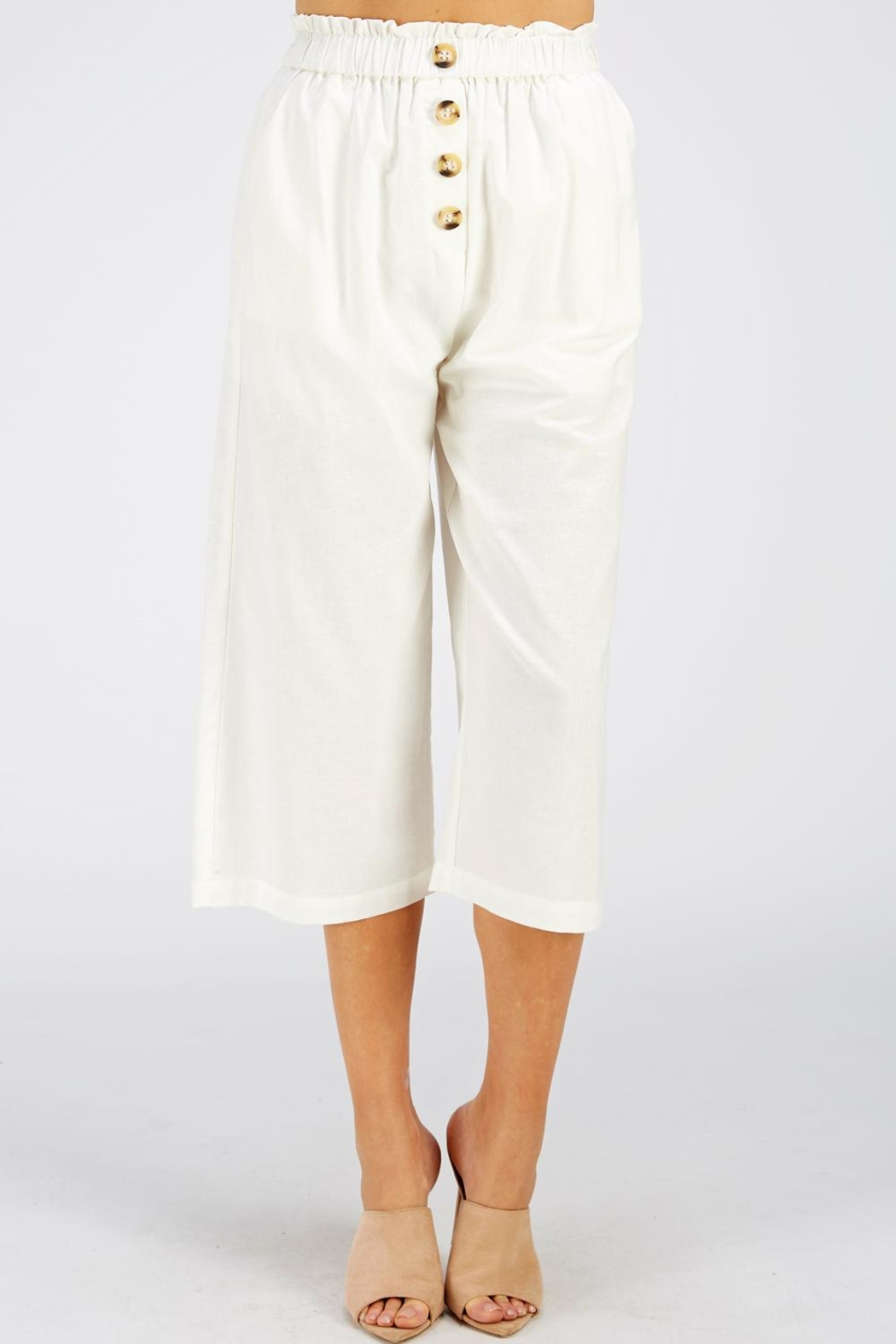 Style Rack Linen Culotte Pants - Front Cropped Image