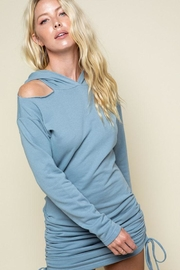 Style Rack Open-Shoulder Hoody Dress - Front cropped
