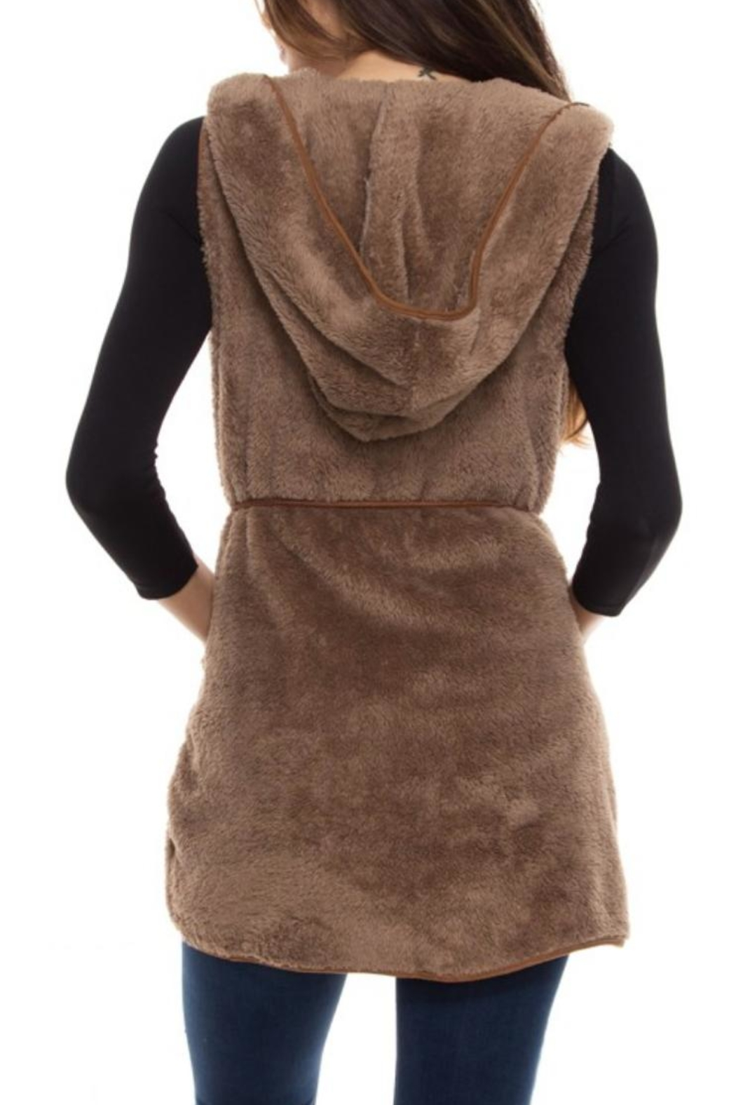Style Rack Plush Hooded Vest - Side Cropped Image