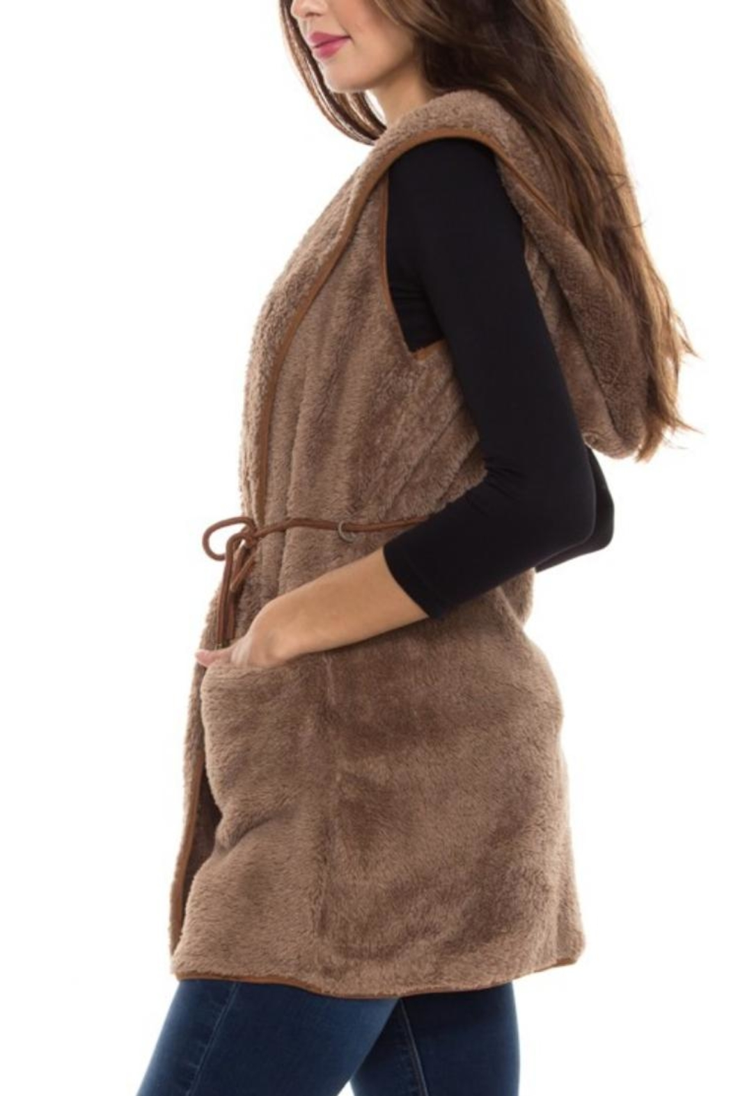 Style Rack Plush Hooded Vest - Back Cropped Image