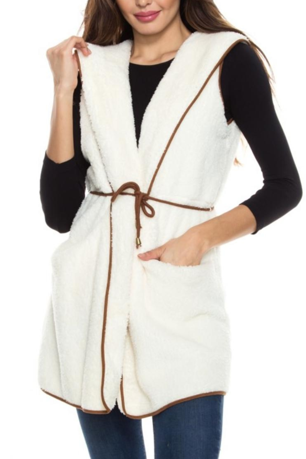 Style Rack Plush Hooded Vest - Front Cropped Image