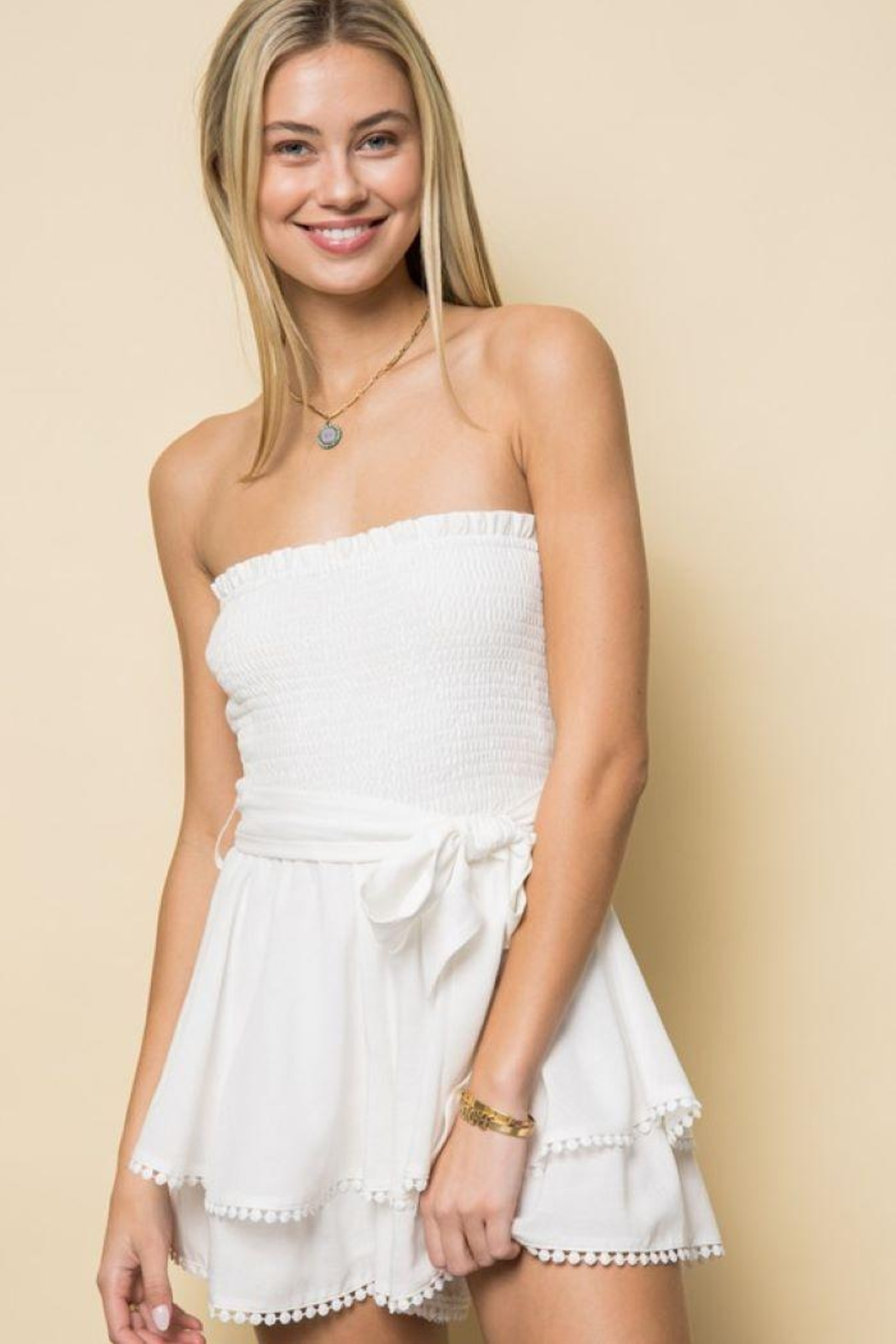 Style Rack Smoked Tube Romper - Front Cropped Image