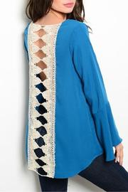 Style Rack Teal Crocheted Back Top - Front full body