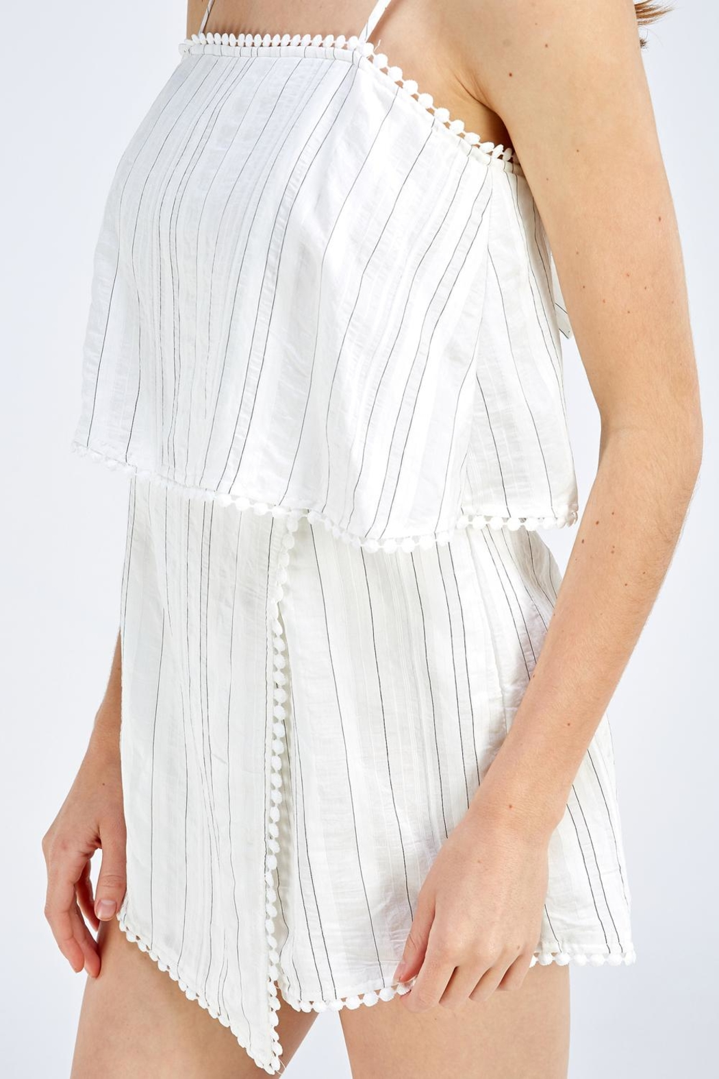 Style Rack White Stripe Romper - Side Cropped Image