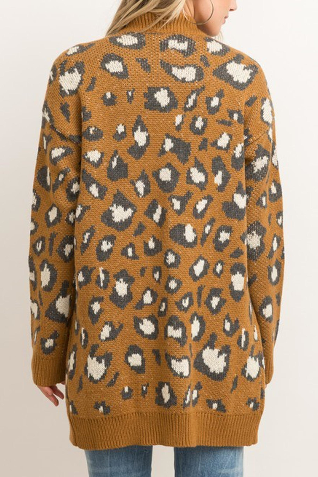 Style Trolley Animal Print Knit-Cardigan - Back Cropped Image