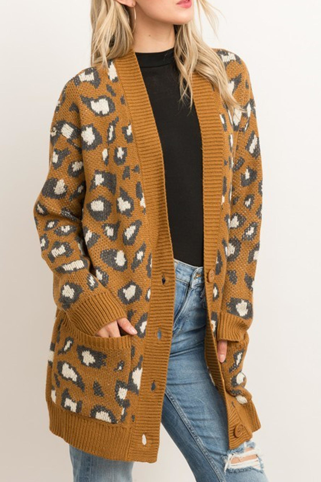 Style Trolley Animal Print Knit-Cardigan - Front Full Image