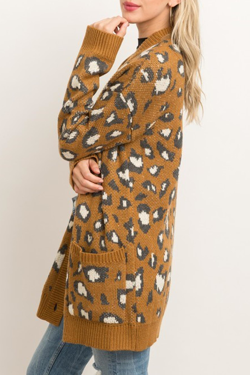 Style Trolley Animal Print Knit-Cardigan - Side Cropped Image