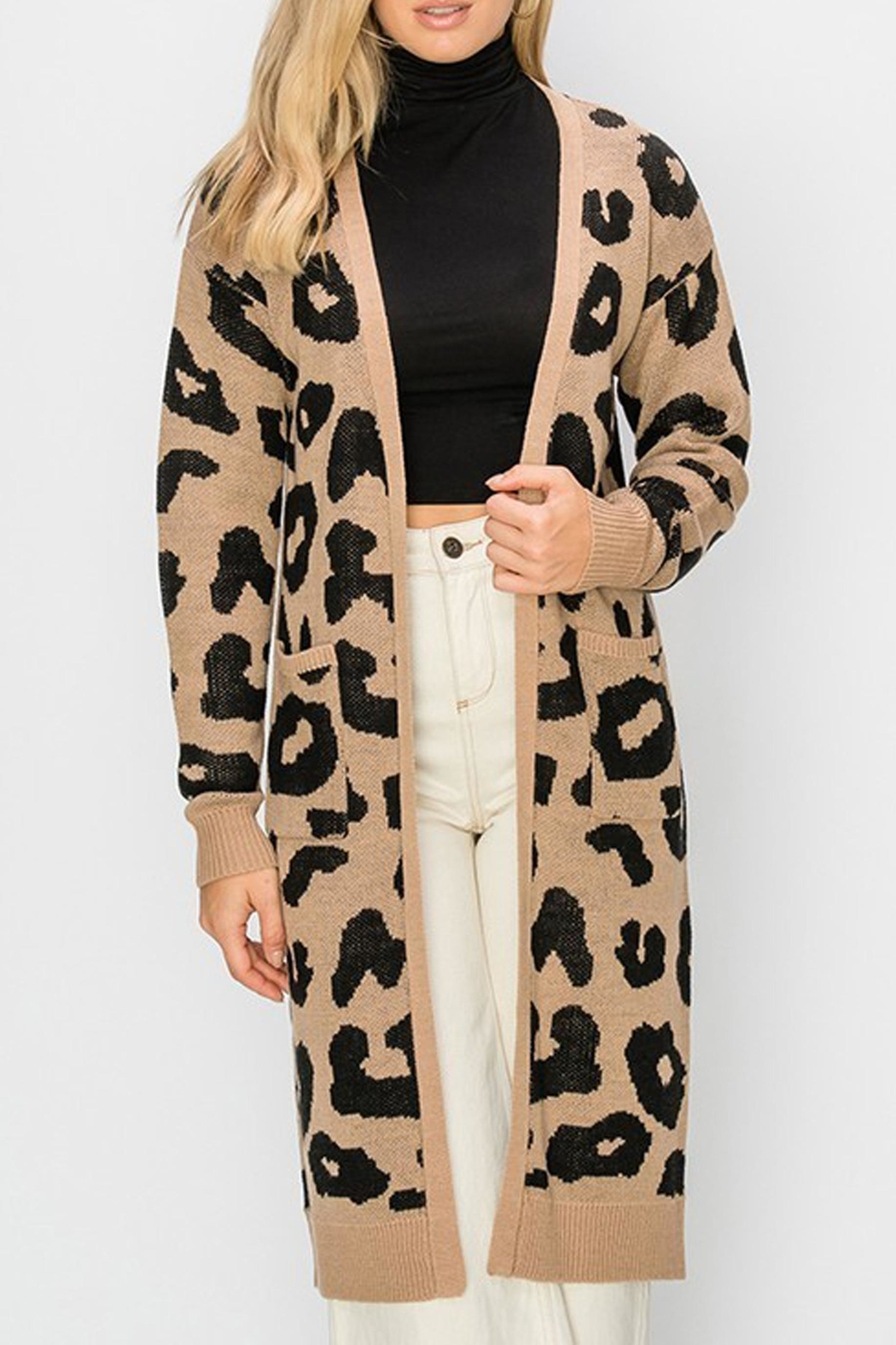 Style Trolley Bagheera Print Cardigan - Front Cropped Image
