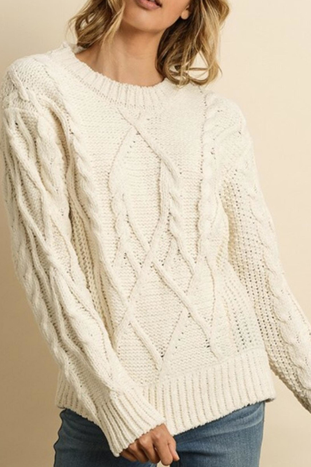 Style Trolley Cableknit Pullover - Side Cropped Image