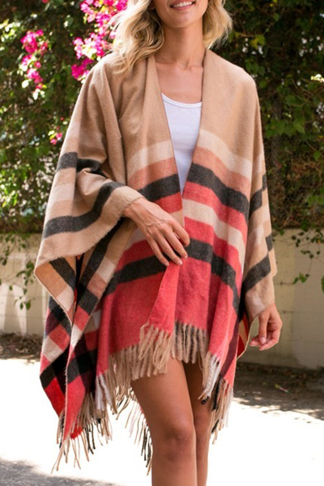 Style Trolley Erin Plaid Poncho - Main Image