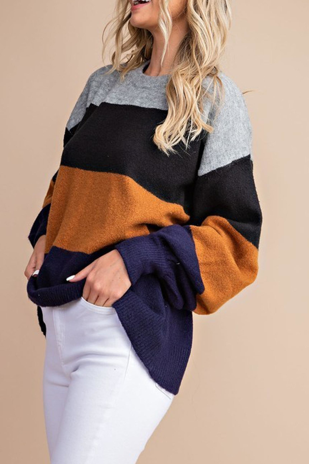 Style Trolley Kimberly Color-Block Sweater - Front Cropped Image