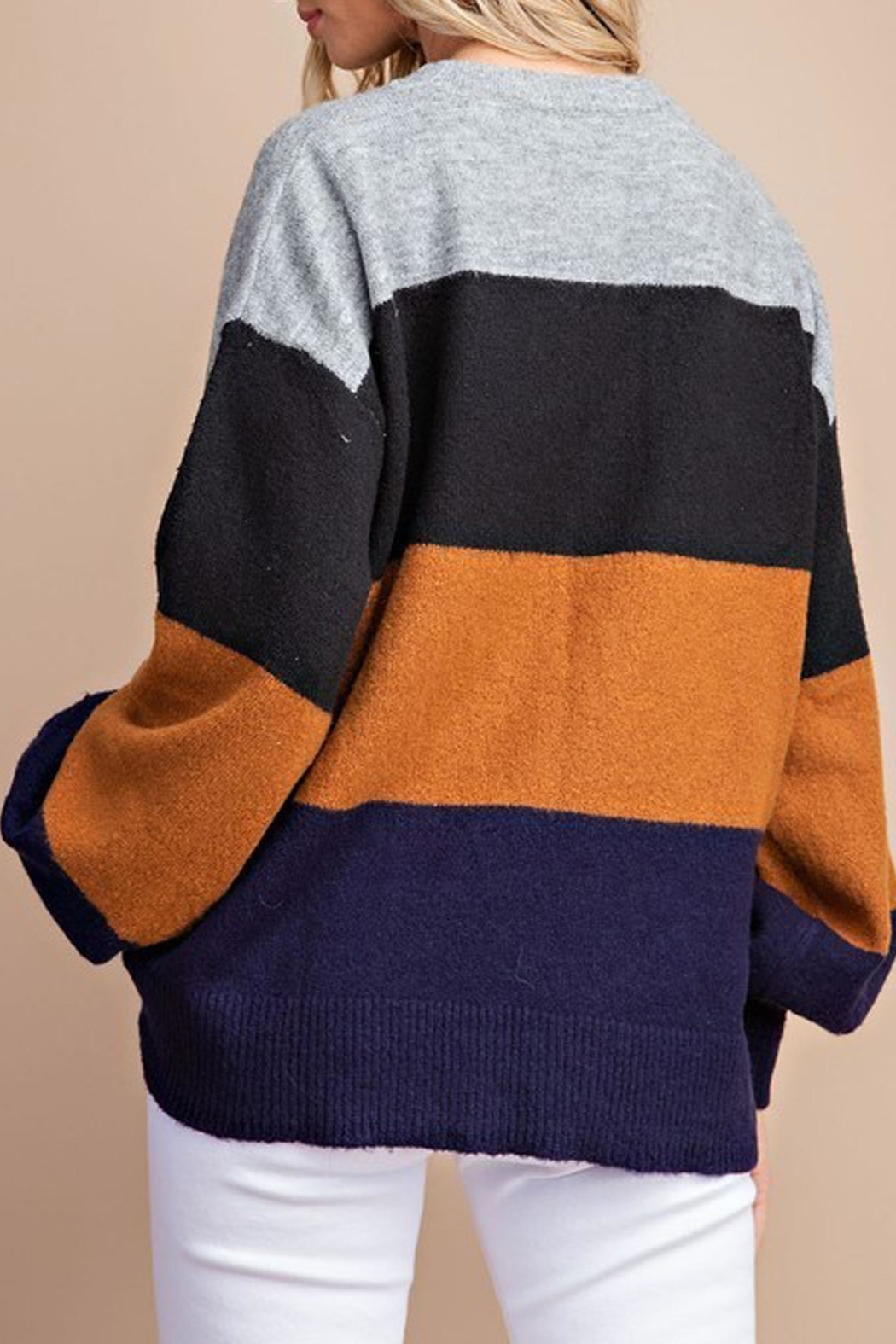 Style Trolley Kimberly Color-Block Sweater - Back Cropped Image