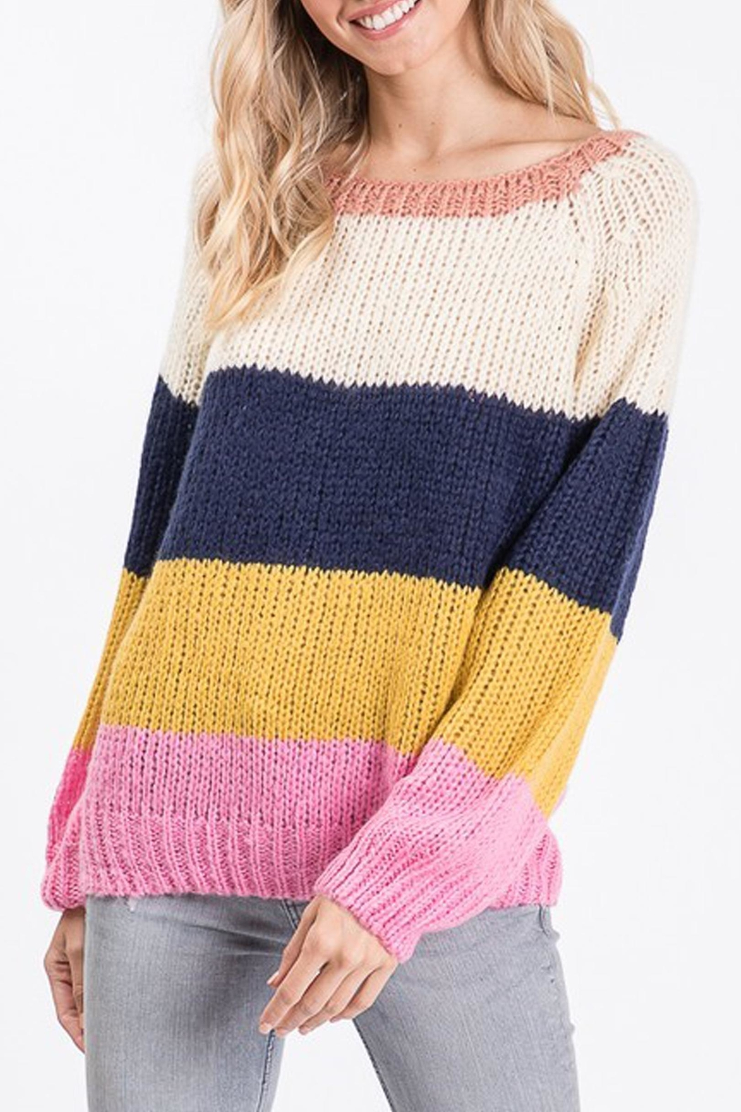 Style Trolley Rainbow Color-Block Sweater - Main Image