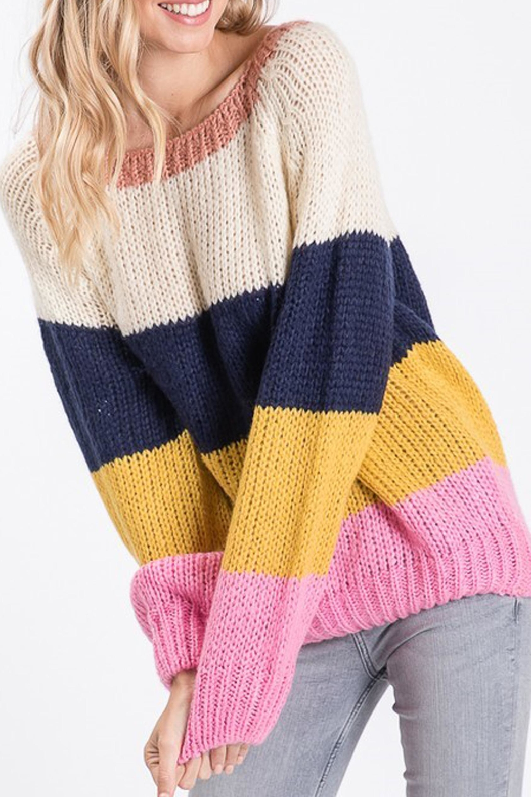 Style Trolley Rainbow Color-Block Sweater - Front Full Image