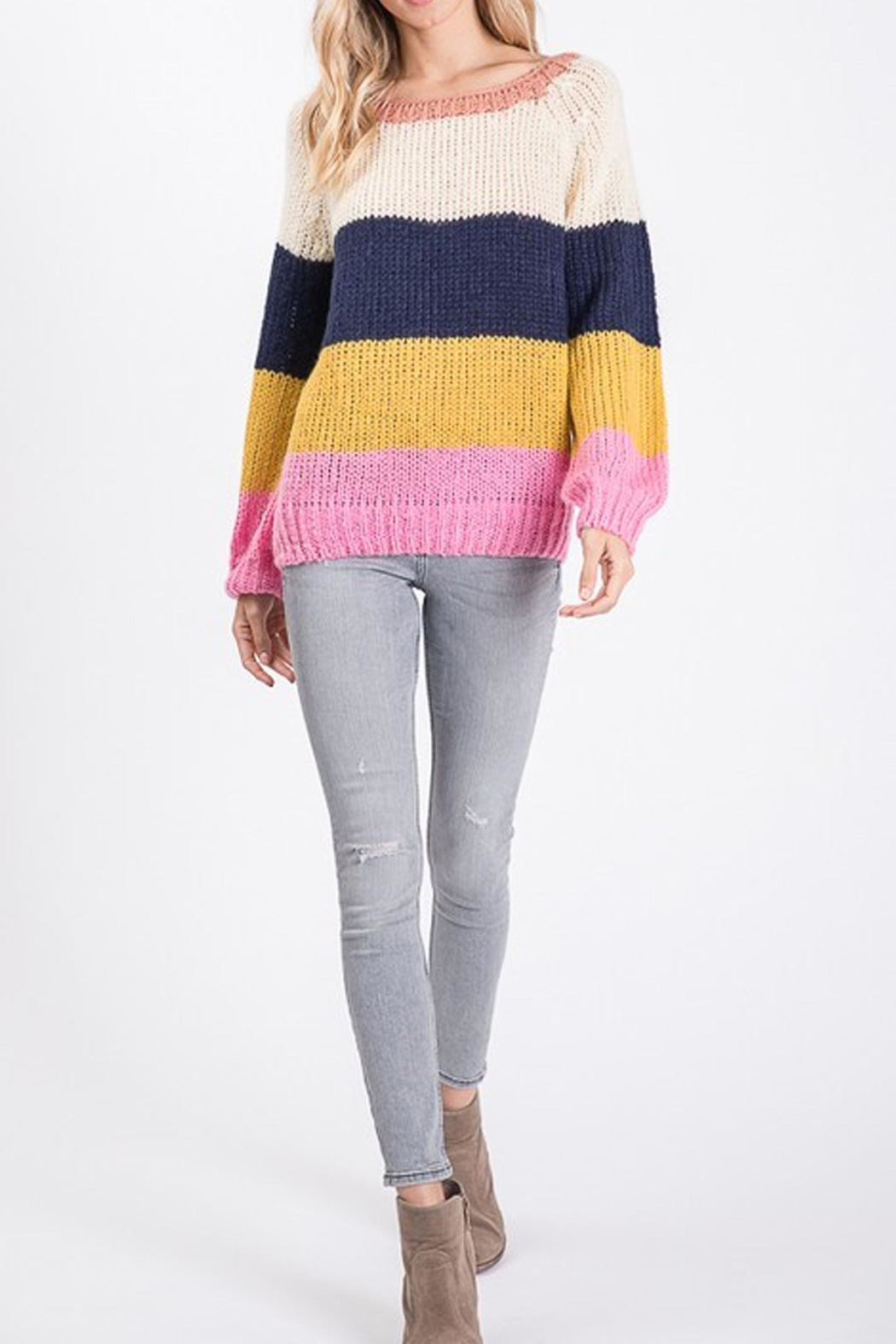 Style Trolley Rainbow Color-Block Sweater - Back Cropped Image