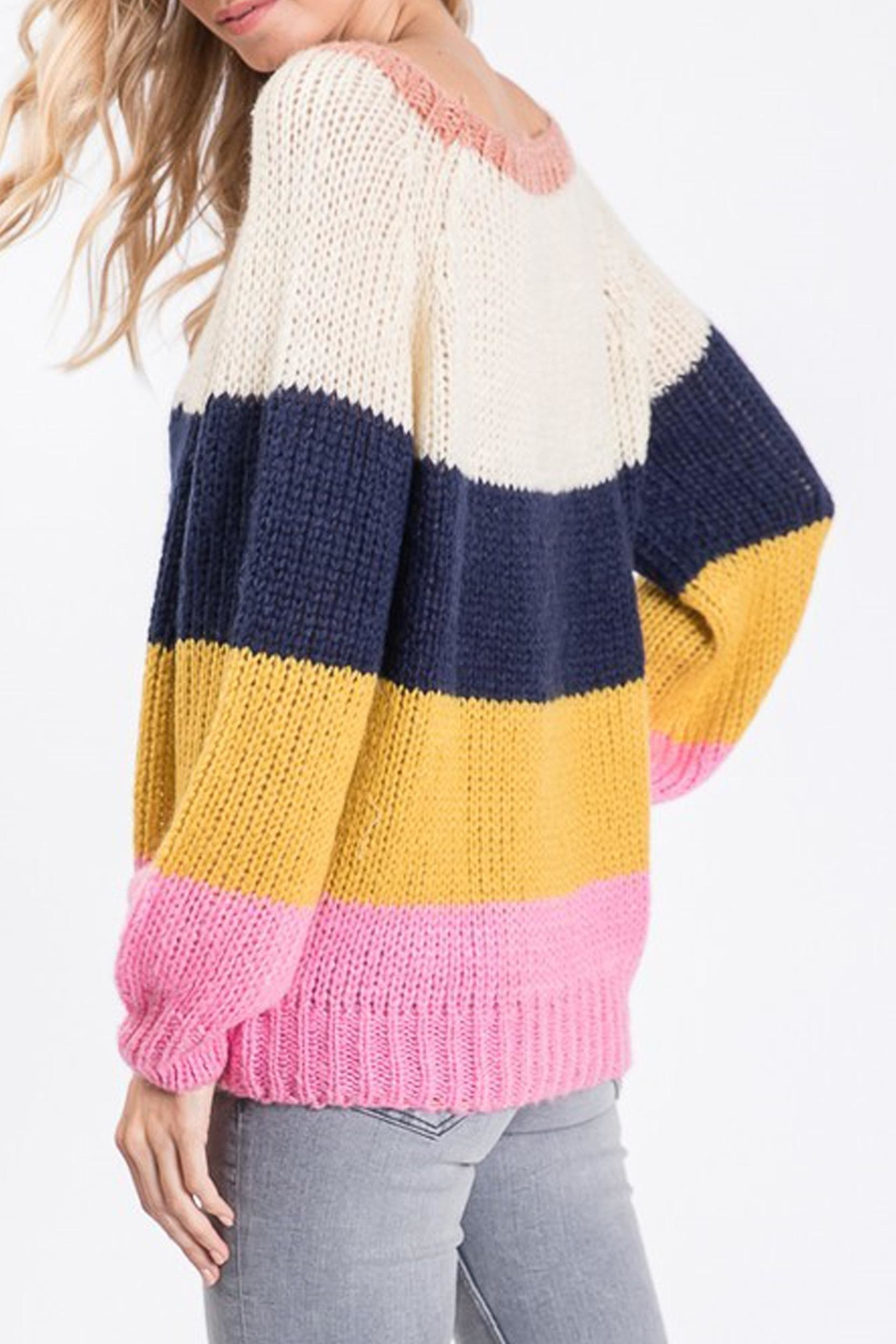 Style Trolley Rainbow Color-Block Sweater - Side Cropped Image